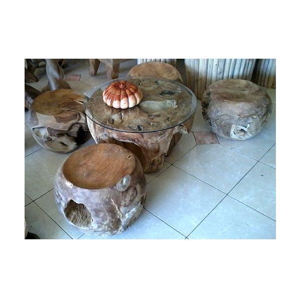 Indonesian Furniture Manufacturers Teak Root Balls Seat Set